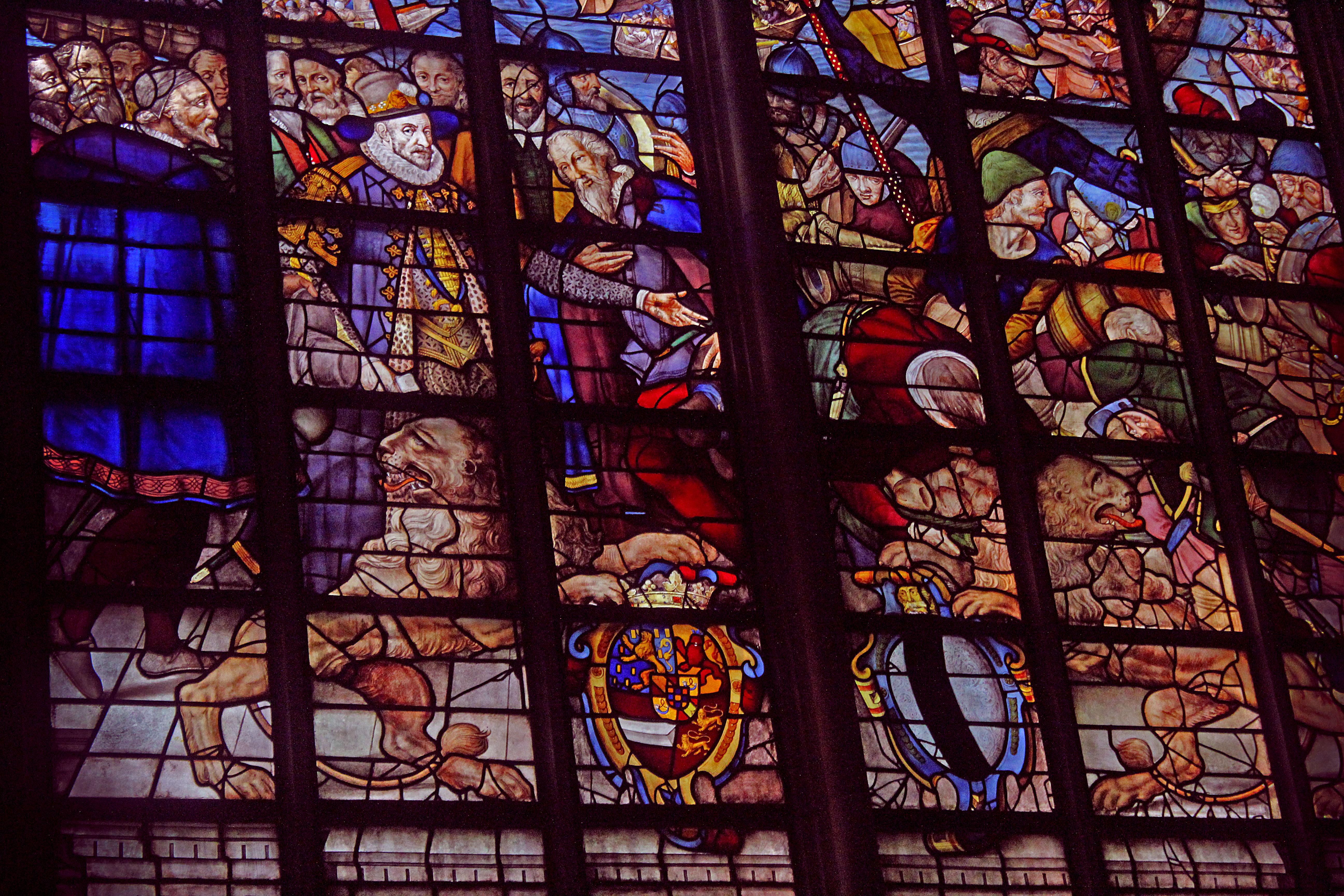 Beautiful stain glass, main church of Gouda.