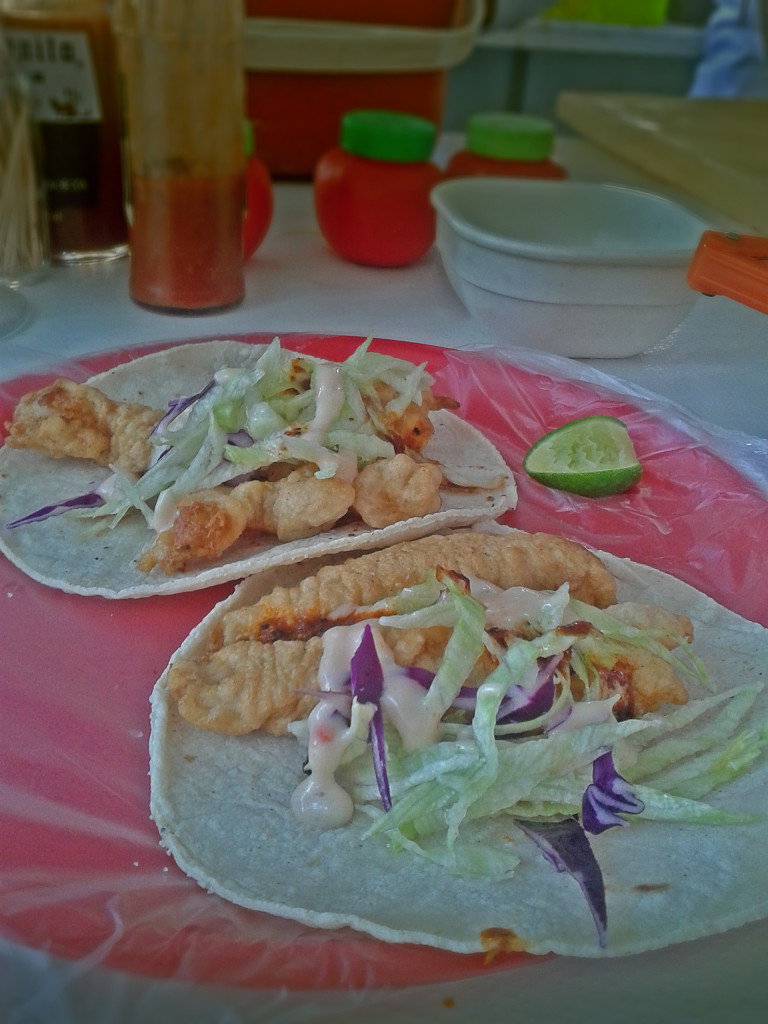 Fish and shrimp tacos.